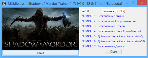 Middle-earth: Shadow of Mordor: Трейнер/Trainer (+6) [1.0.1636.37 (update 3) _64 bit] {Baracuda}