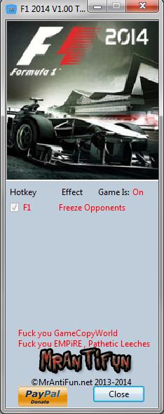 F1 2014: Трейнер/Trainer (+1: Freeze Opponents / Заморозка Противников) [1.10.3104]