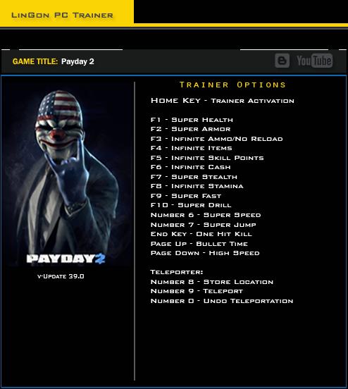 Payday 2: Трейнер/Trainer (+17) [Update 39.0]