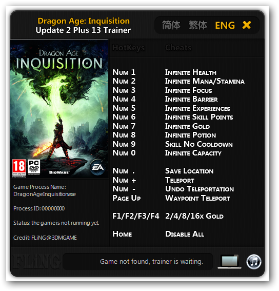Dragon Age: Inquisition: Трейнер/Trainer (+13) [Update 2] {FLiNG}