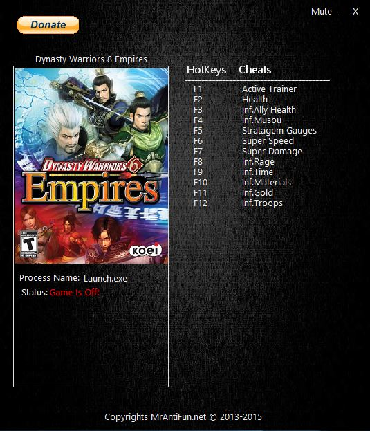 Dynasty Warriors 8: Empires: Трейнер/Trainer (+11) [1.0] {MrAntiFun}