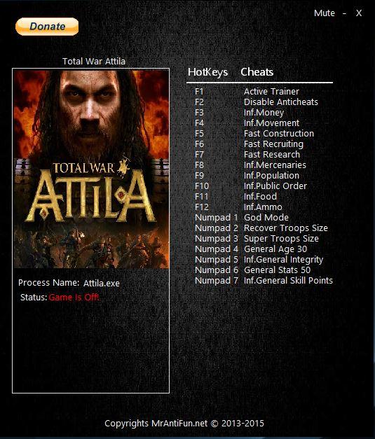 Total War ~ Attila: Трейнер/Trainer (+12) [1.0 - 1.4.0]