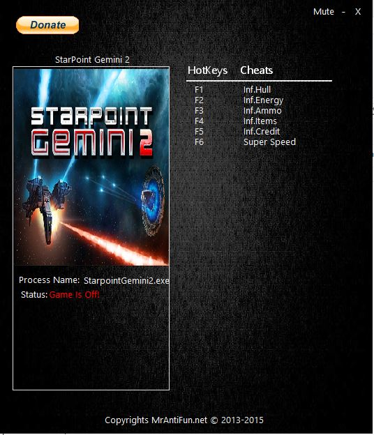 Starpoint Gemini 2: Трейнер/Trainer (+6) [1.3002] {MrAntiFun}