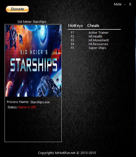 Sid Meier Starships Трейнер/Trainer (+4) [1.0: 64 Bit] {MrAntiFun}