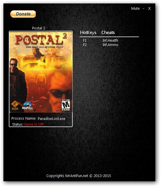 Postal 2 - Paradise Lost: Трейнер/Trainer (+2) [1.0: Steam] {MrAntiFun}