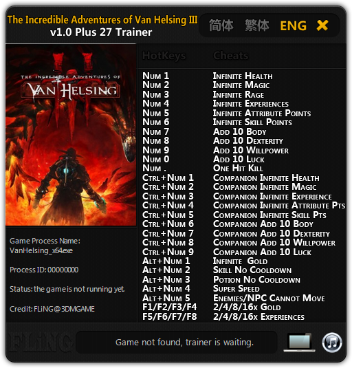The Incredible Adventures of Van Helsing 3: Трейнер/Trainer (+27) [1.0 64 Bit] {FLiNG}