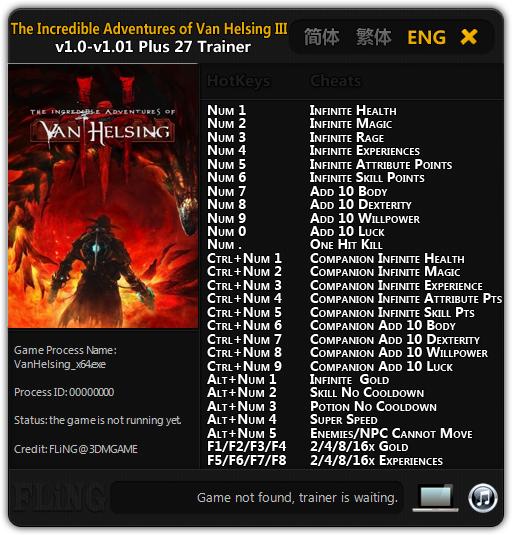 The Incredible Adventures of Van Helsing 3: Трейнер/Trainer (+27) [1.0 - 1.01 64 Bit]