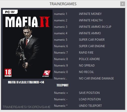 Mafia 2: трейнер/trainer (+10) [1. 04] {dr. Olle} читы чит коды.