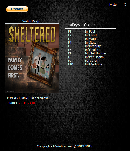 Sheltered скачать читы