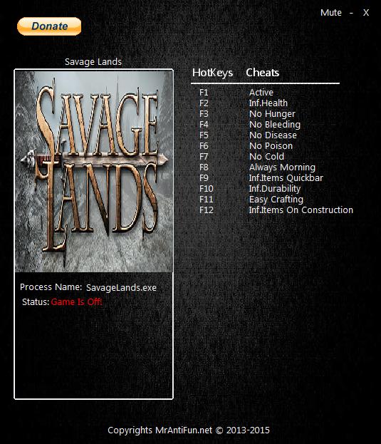 Savage Lands: Трейнер/Trainer (+11) [0.8.0] {MrAntiFun}