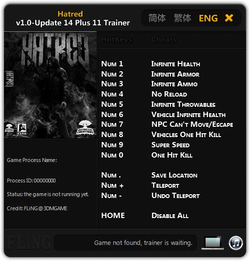 Hatred: Трейнер/Trainer (+11) [1.0 - Update 14]