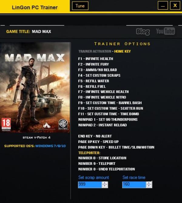 Mad max трейнер скачать.