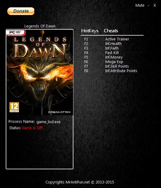 скачать трейнер для legends of dawn reborn