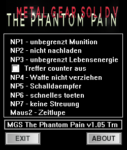 Metal Gear Solid : The Phantom Pain Version: 1.05