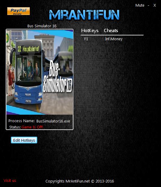 Bus Simulator 16: Трейнер/Trainer (+1: Деньги / Money) [0.0.745]