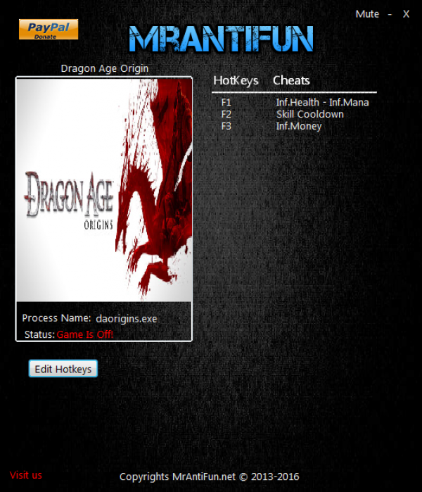 Dragon Age Origins читы 1.05