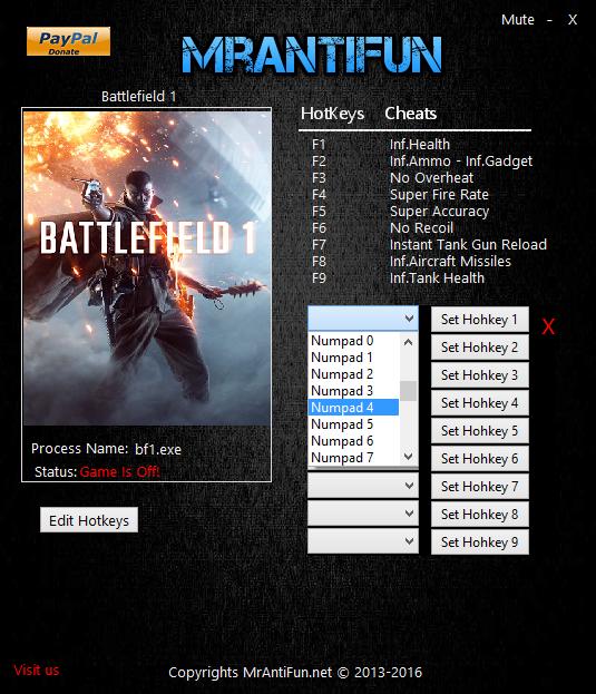 Battlefield 1 трейнер скачать