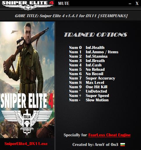 Sniper Elite 4 Скачать Трейнер - фото 5
