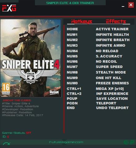 Sniper Elite 4 Скачать Трейнер - фото 2