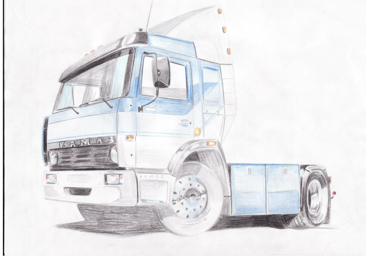 Как нарисовать камаз из дальнобойщиков поэтапно
