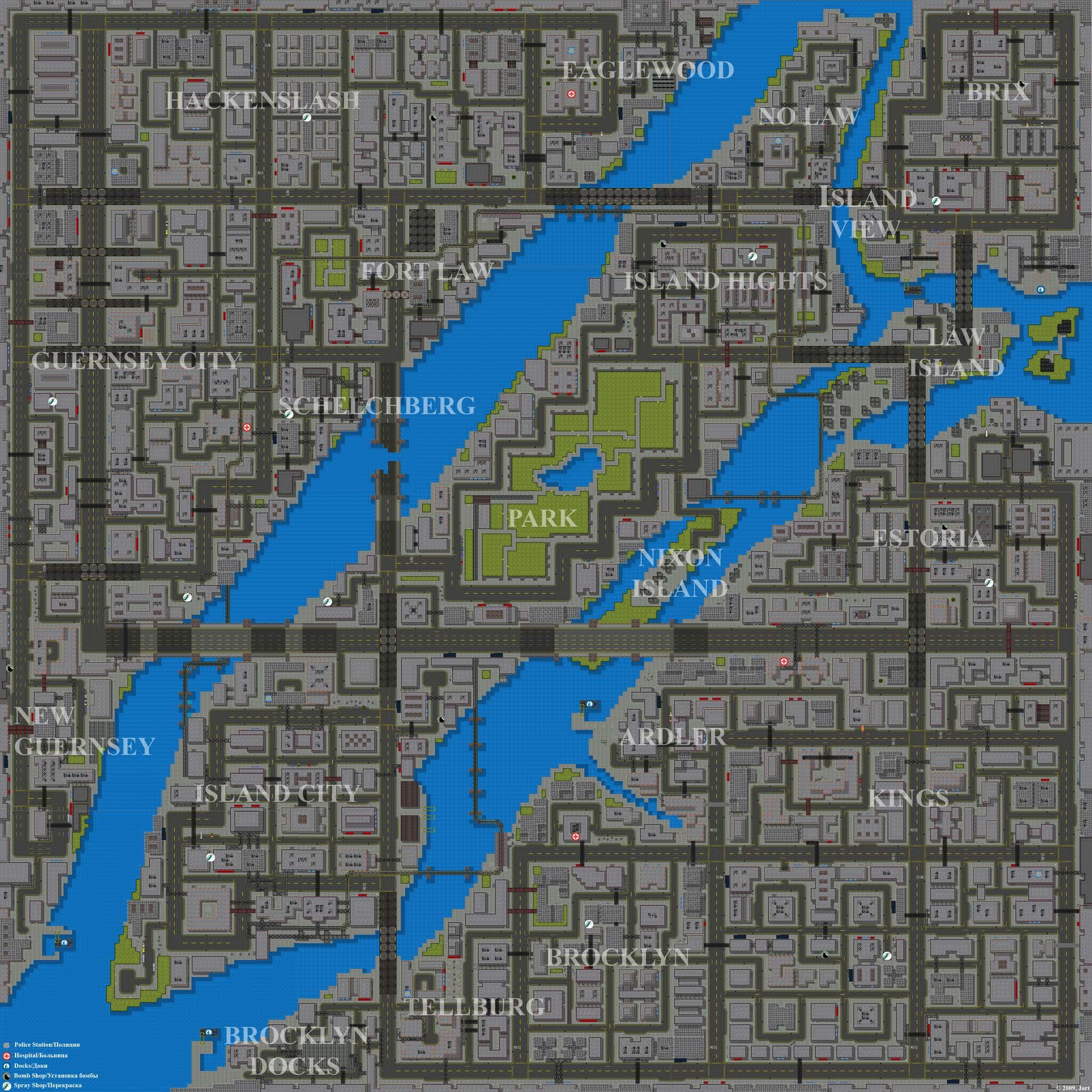Приблизительный вид карты Liberty City