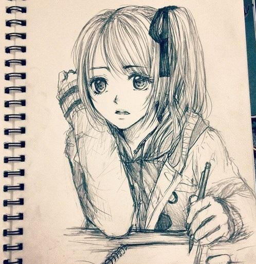 прикольные картинки аниме карандашом