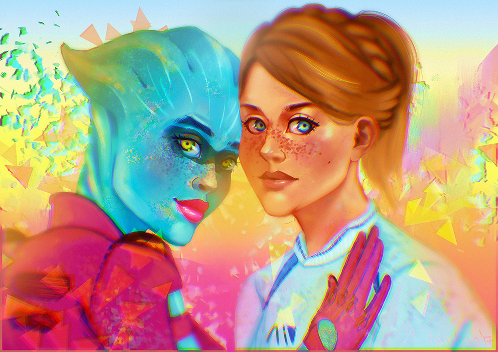 ryder_and_peebee_by_yamyamy-dazh8jy.png - Mass Effect: Andromeda