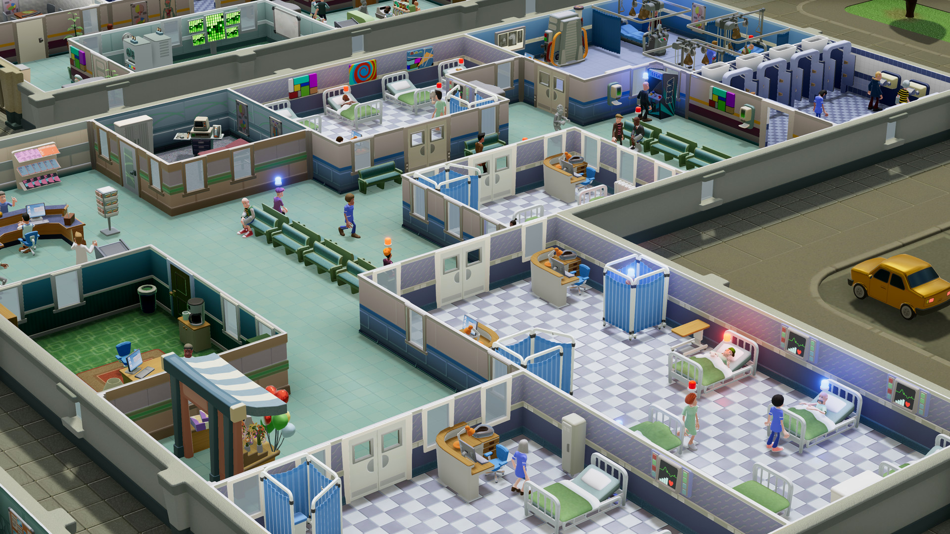 Больничные палаты в Two Point Hospital