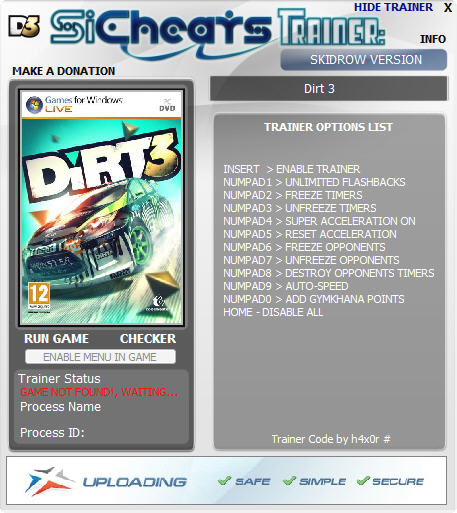 DiRT 3: Трейнер (+7) 1.0 - Update h4x0r - Читы - чит коды, nocd, nodvd, трейнер, crack, сохранения, совет, скачать бесплатно