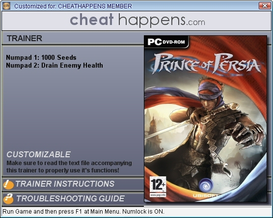 prince of persia 2 trainer  for pc