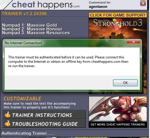 cheat happens trainer offline key
