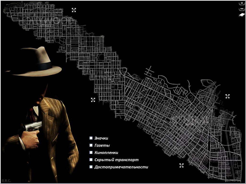 La noire карта расположений газет, кинопленок, достопримечательностей, зн