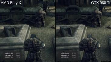 "Gears Of War DX12 ""Тест производительности GTX 980 TI Vs AMD Fury X без ограничения FPS"""