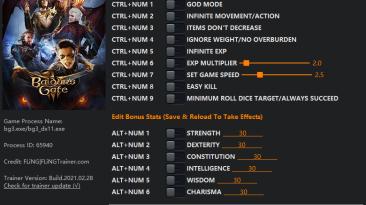 Baldur's Gate 3: Трейнер/Trainer (+15) [EA: 28.02.2021] {FLiNG}