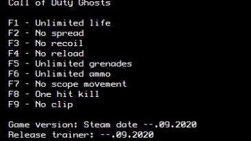 Call Of Duty - Ghosts: Трейнер/Trainer (+9) [Steam] {LIRW / GHL} - Updated: 04.09.2020