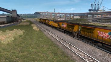 """American Truck Simulator """"Improved Trains v3.2 Улучшенные Поезда в ATS (v1.35x)"""""""