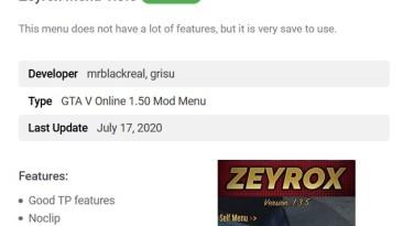 Grand Theft Auto 5 (GTA V): Чит-Мод/Cheat-Mode (Zeyrox v1.3.5) [1.50] {mrblackreal, grisu}