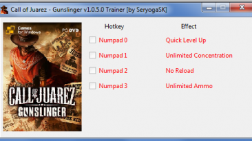 Call of Juarez - Gunslinger: Трейнер/Trainer (+4) [1.0.5.0] {SeryogaSK}