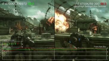 Gears of War Ultimate GTX 970 vs R9 390 DX12 Performance + GTX 980 Ti (DigitalFoundry)