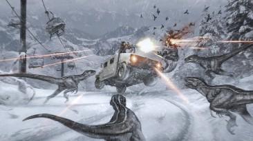 Огромный динозавр разрывает Боинг как консервную банку на артах фильма по мотивам Turok