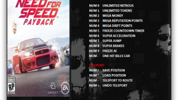 Need for Speed Payback: Трейнер/Trainer (+15) [1.0.51.41148] {ArmY of 0n3}