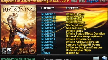 Kingdoms of Amalur - Reckoning: Трейнер/Trainer (+13) [All Versions + DLC Legend Of Dead Kel] {FLiNG}