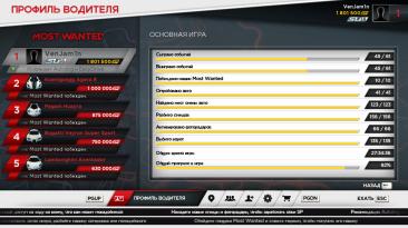 Need for Speed: Most Wanted (2012): Сохранение/SaveGame (100% всё собрано, доступны все машины, лицензия)