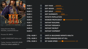 Age of Empires 3 - Definitive Edition: Трейнер/Trainer (+13) [1.0 - 38254] {FLiNG}