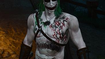 "Witcher 3: Wild Hunt ""Jaredleto joker body tattoo and joker face - Геральт теперь Джокер!"""