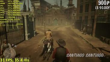 Red Dead Redemption 2 тест на GTX 750 ti + i3 9100f и i5 9400f в 900p/720p