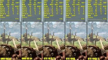 Сравнение частоты кадров - Far Cry Primal 1080 TI Vs 1080 Vs 1070 TI Vs AMD RX 64 Vs AMD RX 56