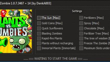 Plants vs. Zombies: Трейнер/Trainer (+14) [1.0.7.3467] {DenkA003 / GHL}