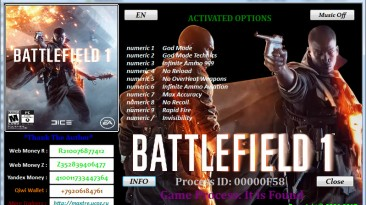 Battlefield 1: Трейнер/Trainer (+10) [Ver.1.0.47.30570] (Fix 1+Update 1) {MaxTre}