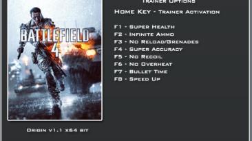 Battlefield 4: Трейнер/Trainer (+8) [Update 1: 64 Bit] {LinGon}